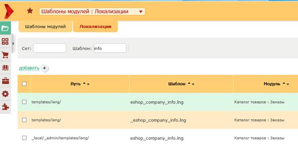 Поиск шаблона локализации с реквизитами компании в Амиро ЦМС