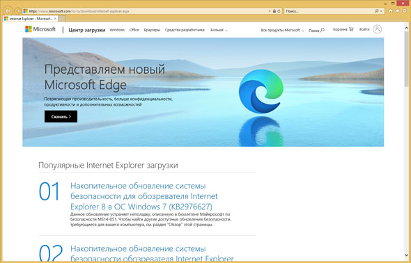 Программа-браузер Microsoft Internet Explorer.